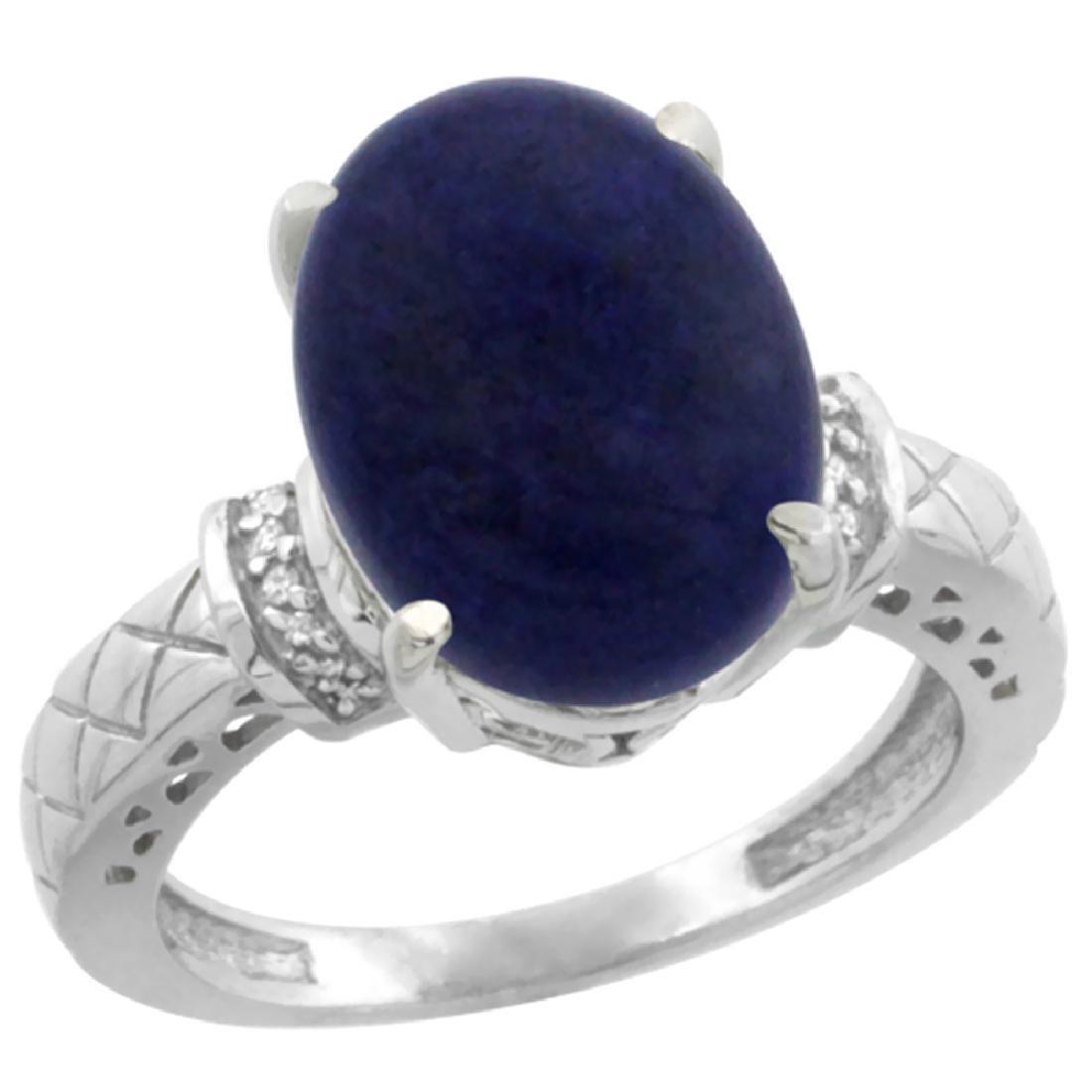 Natural 5.53 ctw Lapis & Diamond Engagement Ring 14K