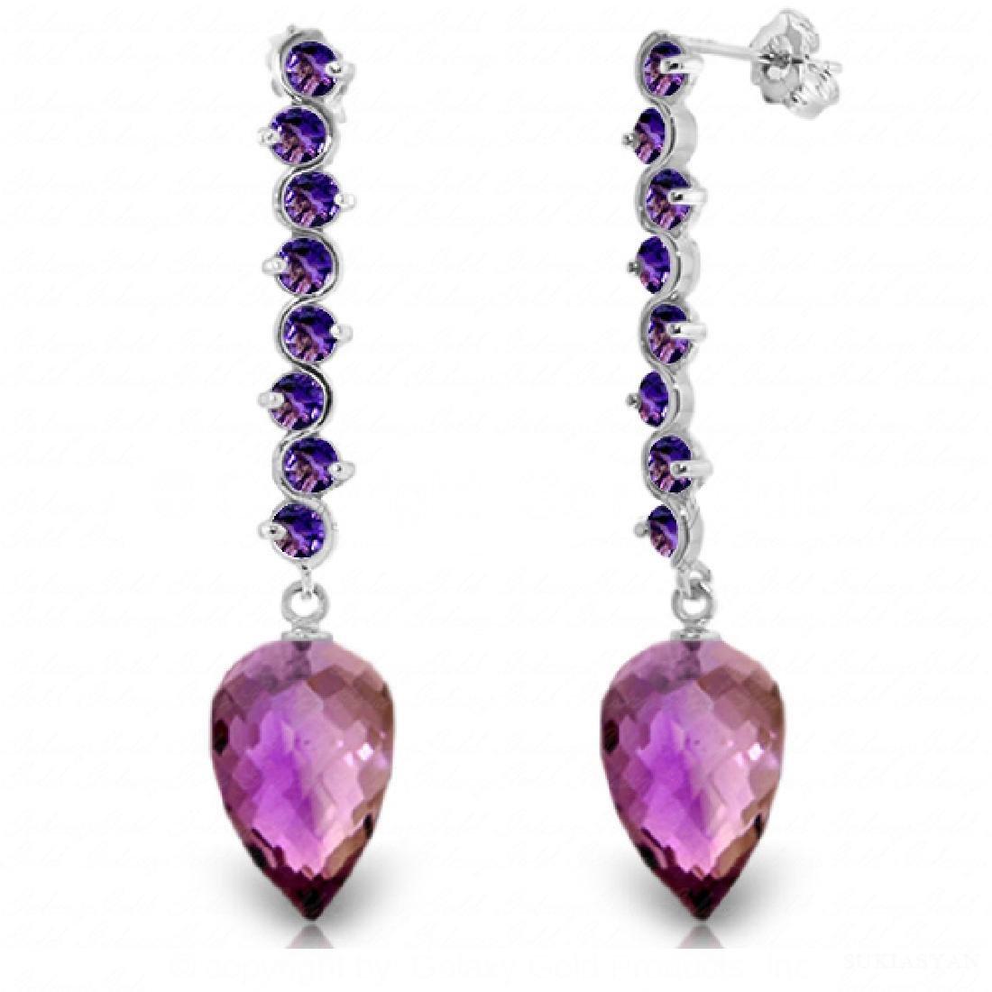 Genuine 22.1 ctw Amethyst Earrings Jewelry 14KT White