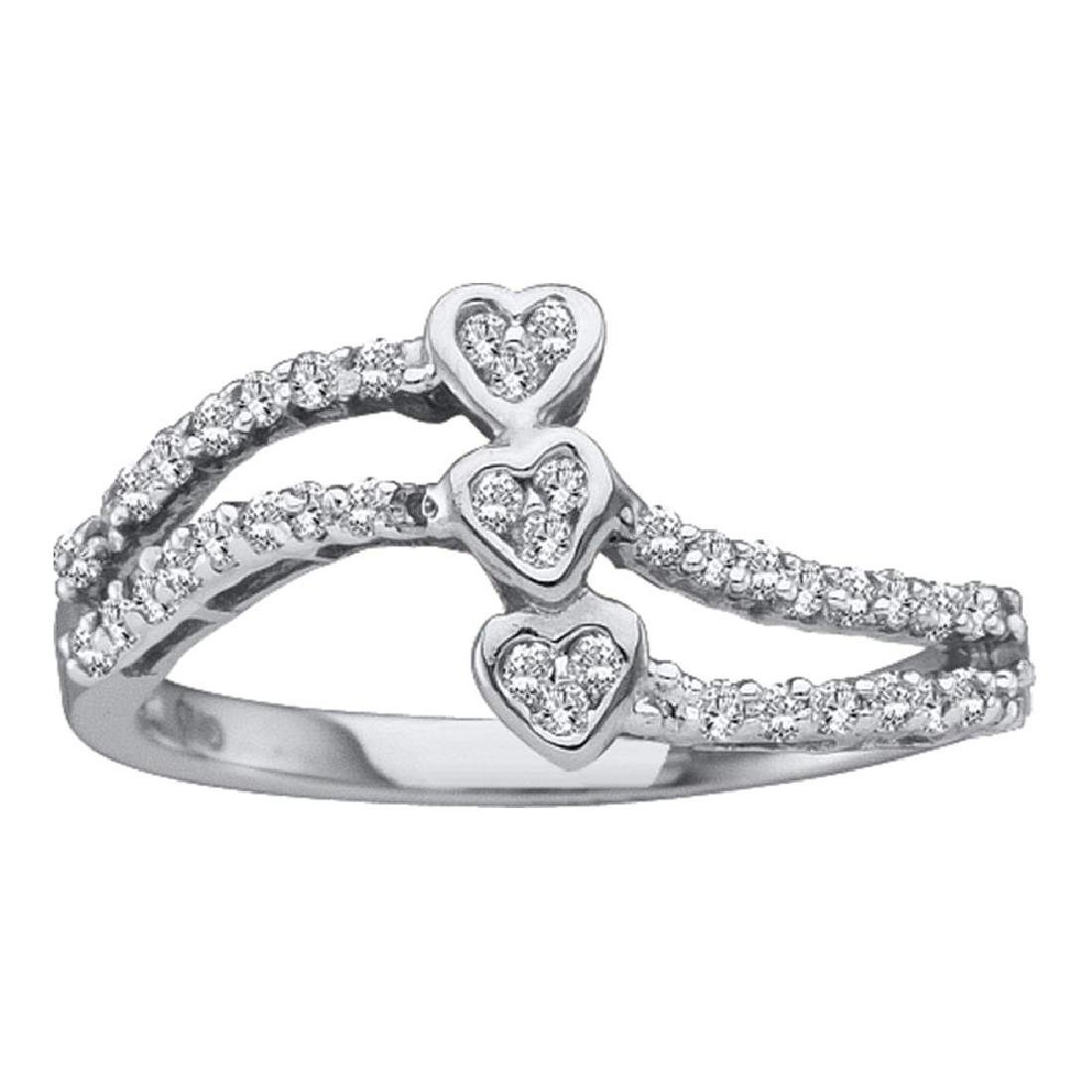 0.25 CTW Diamond Triple Trinity Heart Openwork Ring