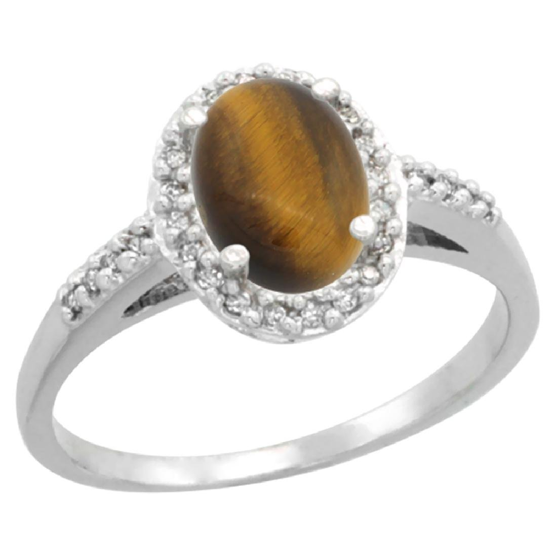 Natural 1.16 ctw Tiger-eye & Diamond Engagement Ring