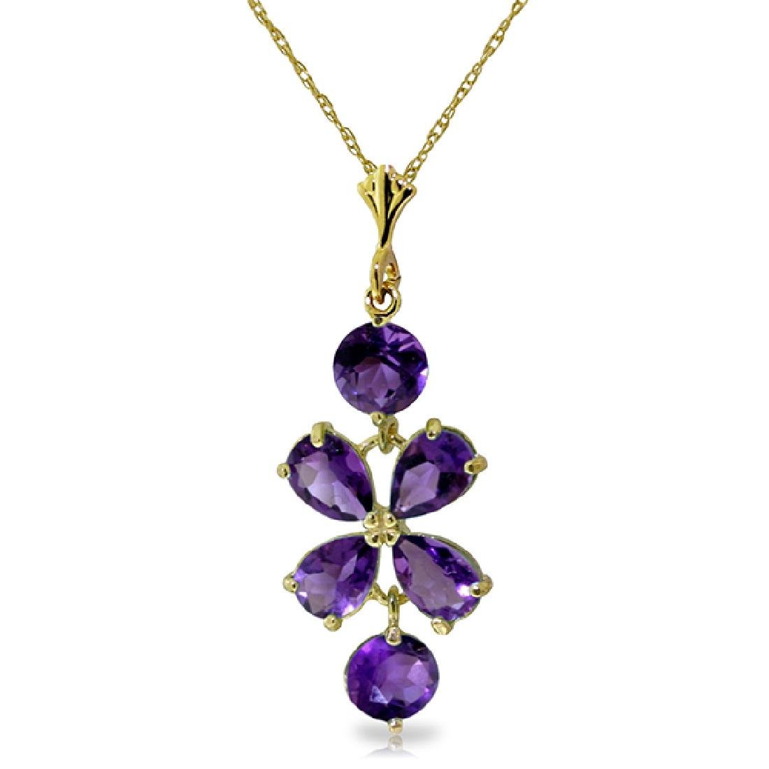 Genuine 3.15 ctw Amethyst Necklace Jewelry 14KT Yellow