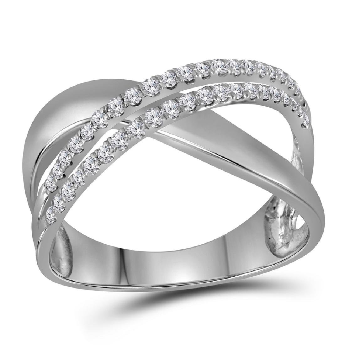 0.40 CTW Diamond Crossover Ring 10KT White Gold -