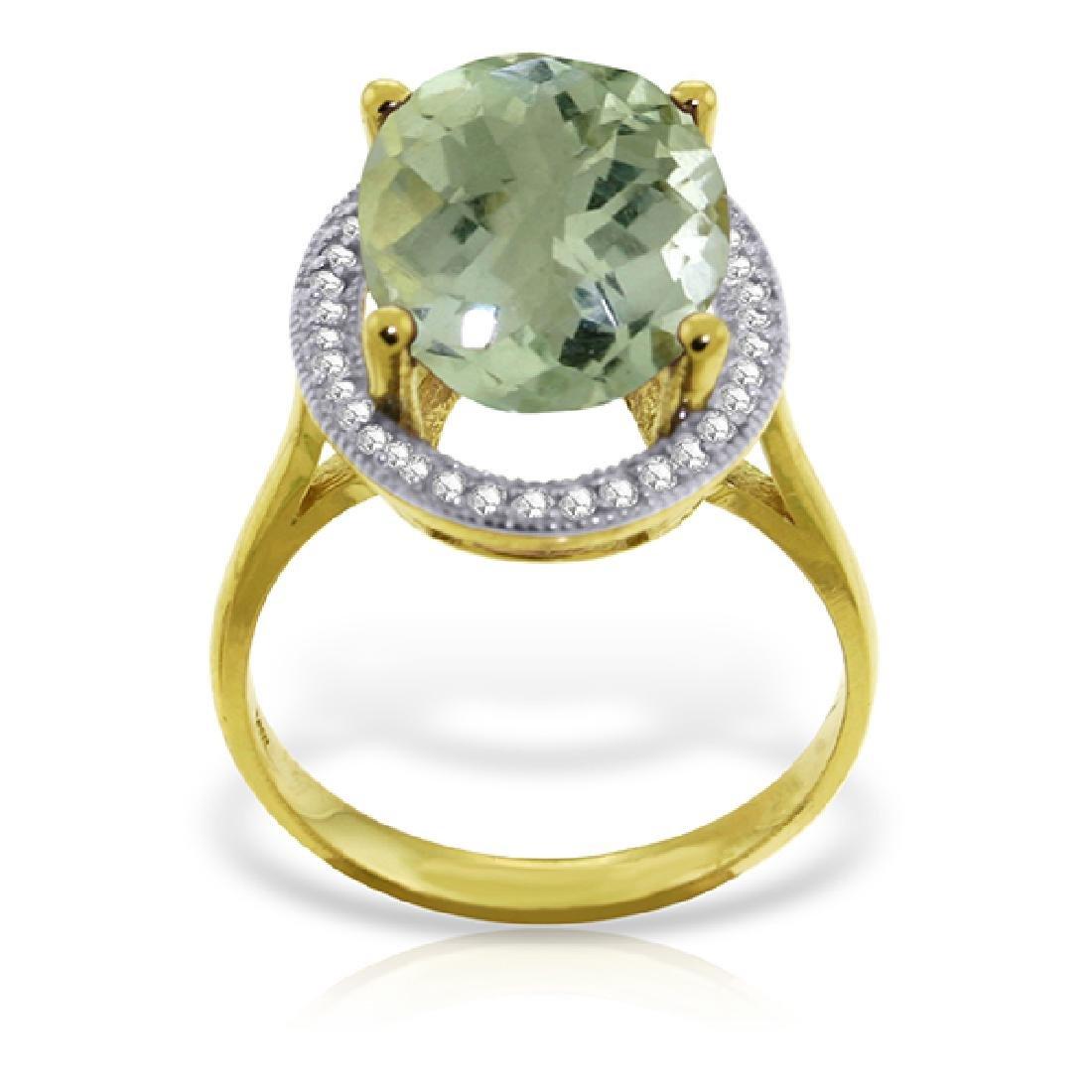 Genuine 5.28 ctw Green Amethyst & Diamond Ring Jewelry