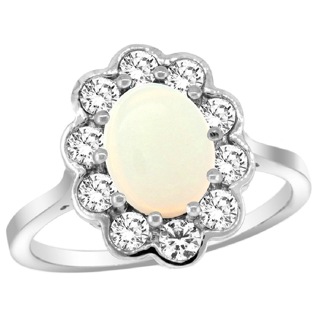Natural 1.64 ctw Opal & Diamond Engagement Ring 14K