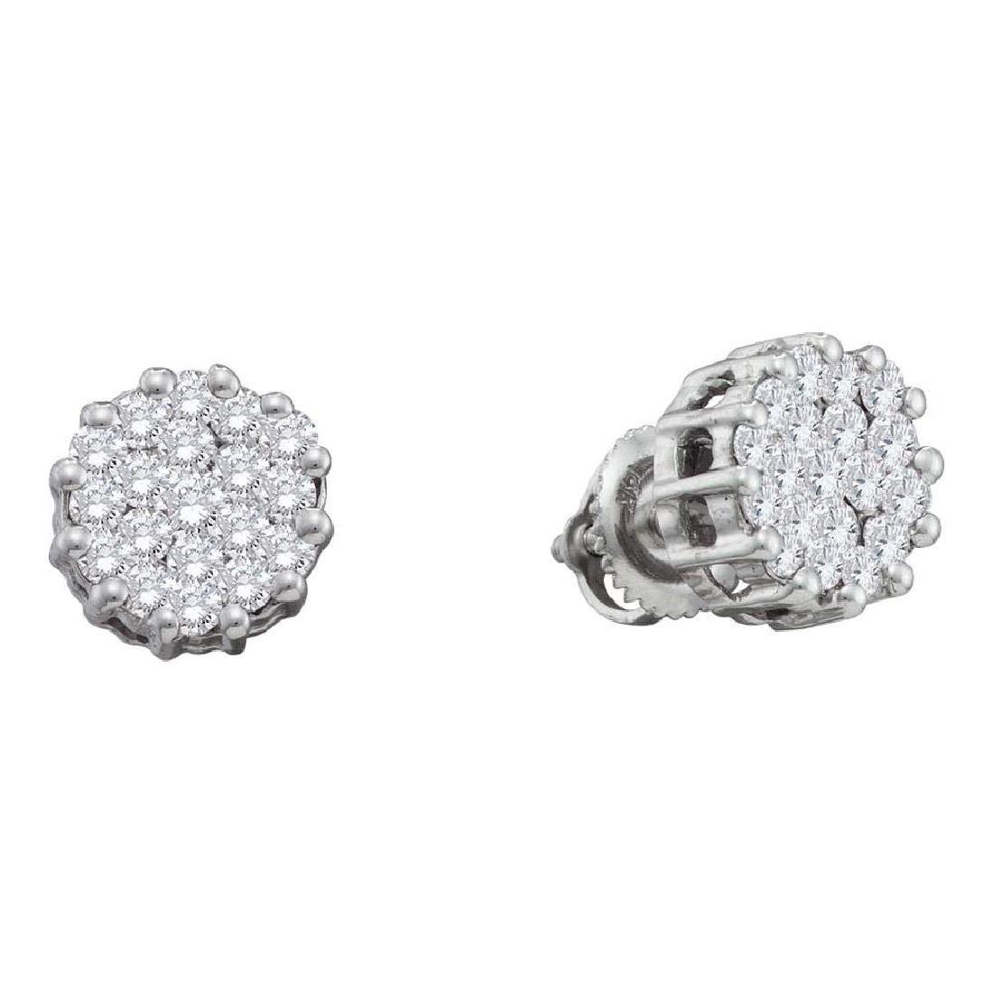 1 CTW Diamond Flower Screwback Earrings 14KT White Gold