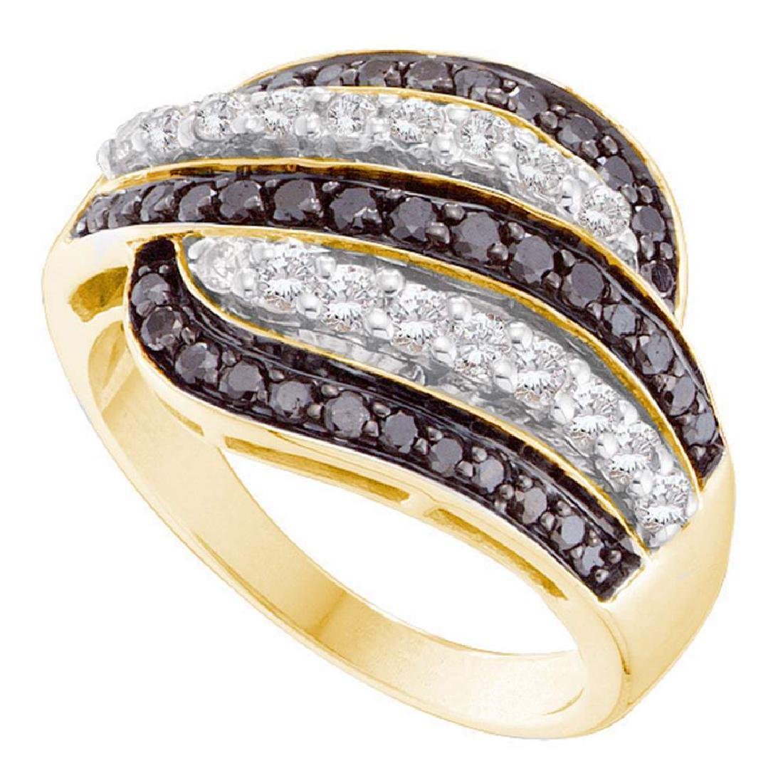 1 CTW Black Color Diamond Cocktail Ring 14KT Yellow