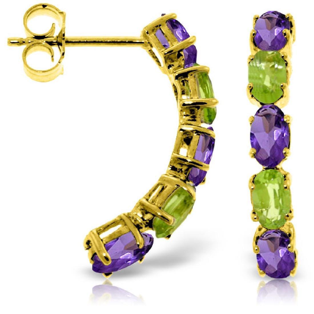 Genuine 2.5 ctw Amethyst & Peridot Earrings Jewelry