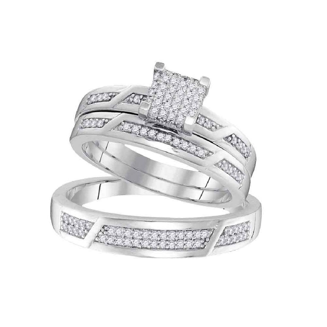 0.33 CTW His & Hers Diamond Cluster Matching Bridal