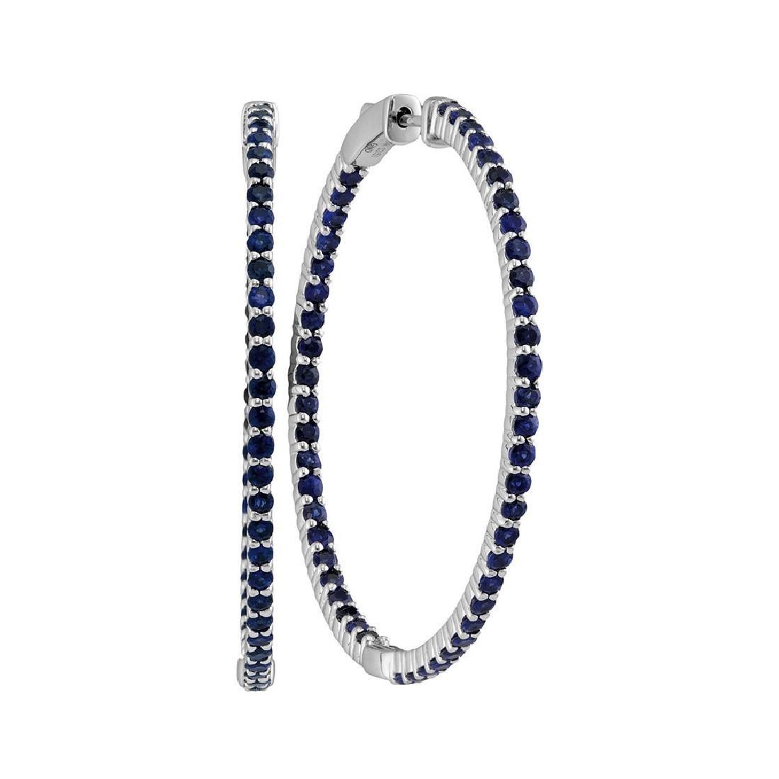 3.75 CTW Blue Sapphire Hoop Earrings 14KT White Gold -