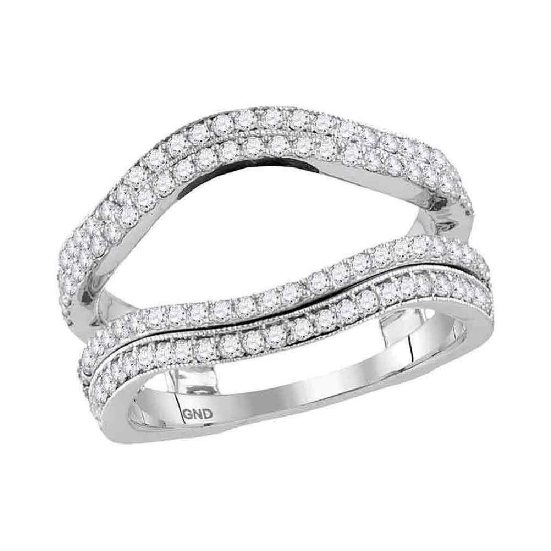 0.76 CTW Diamond Wrap Ring 14KT White Gold - REF-89Y9X