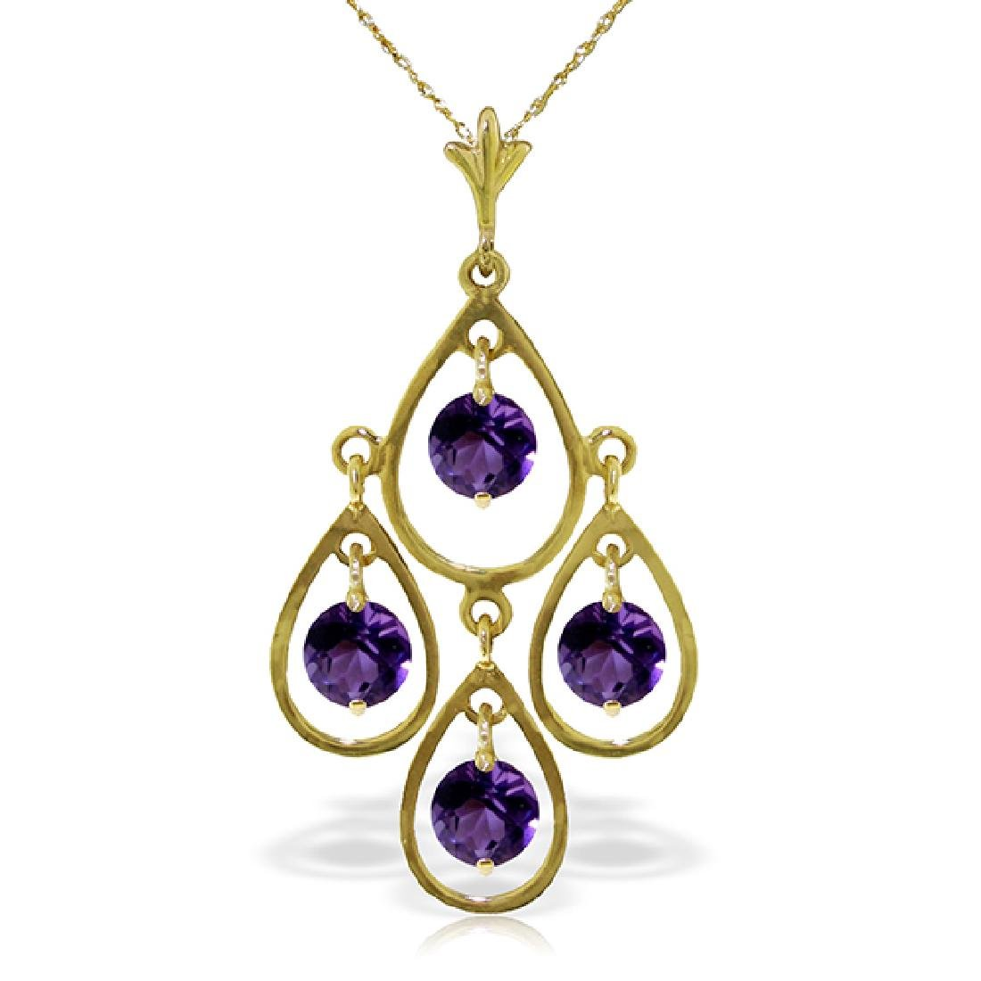 Genuine 1.20 ctw Amethyst Necklace Jewelry 14KT Yellow