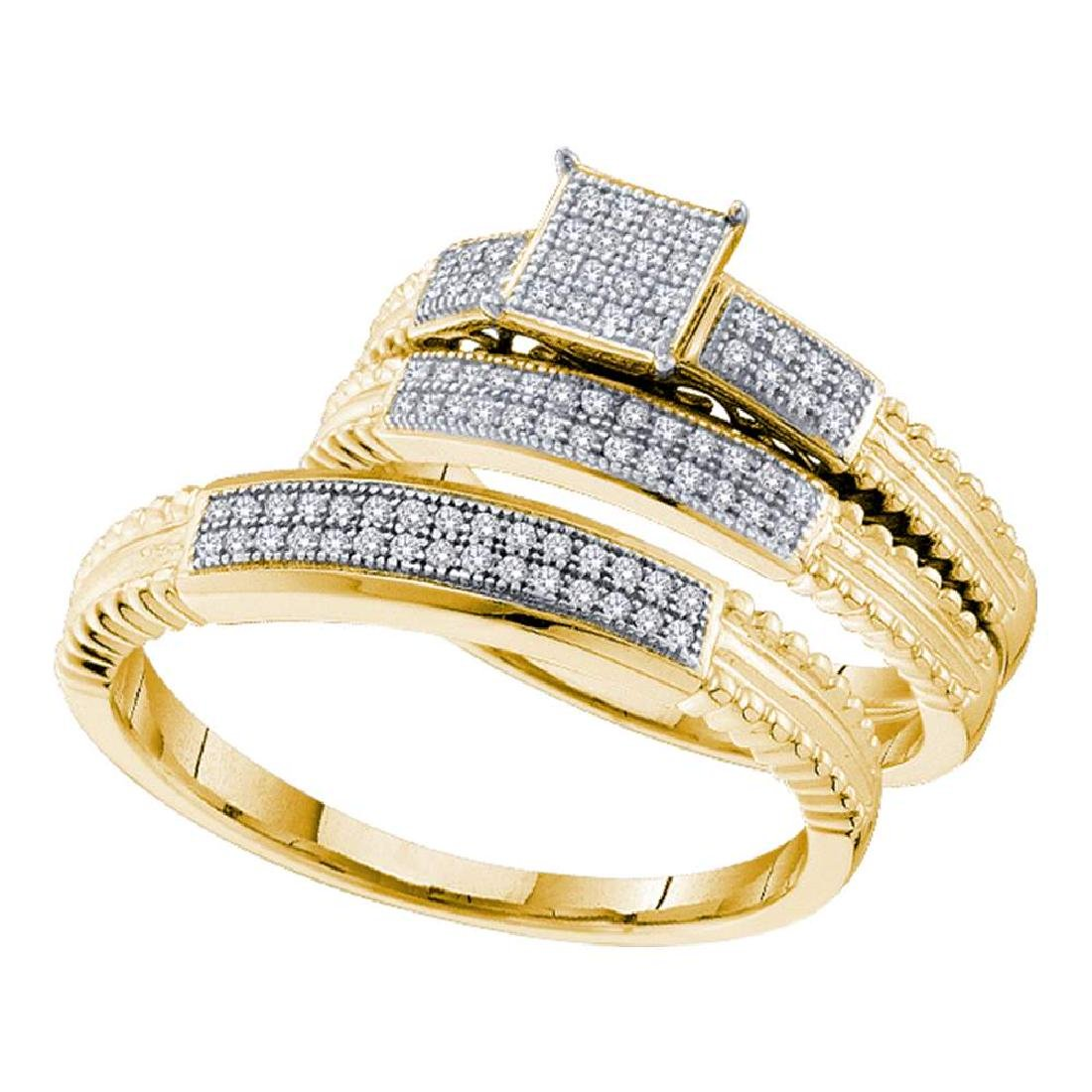 0.25 CTW His & Hers Diamond Cluster Matching Bridal