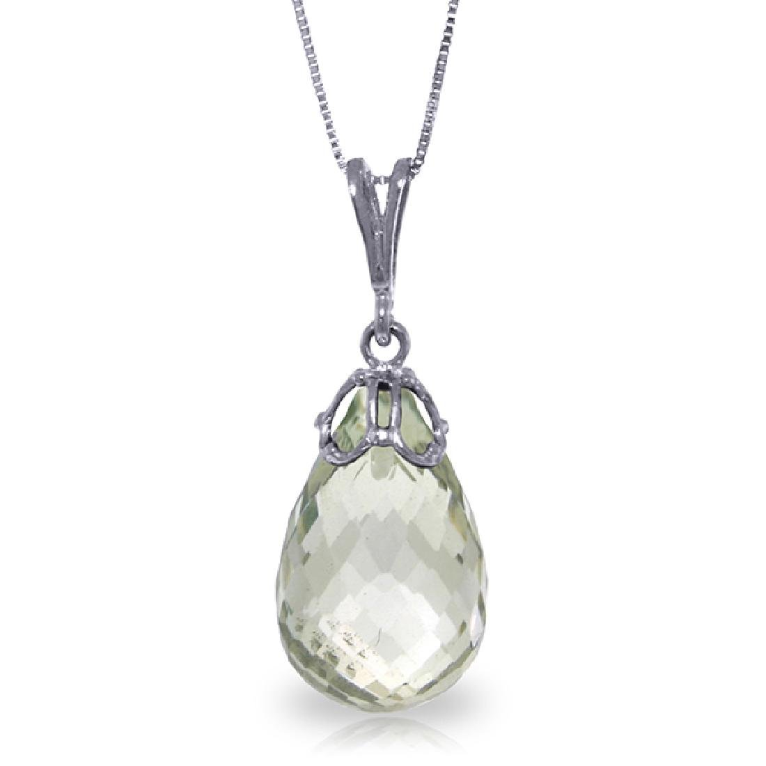 Genuine 7 ctw Green Amethyst Necklace Jewelry 14KT