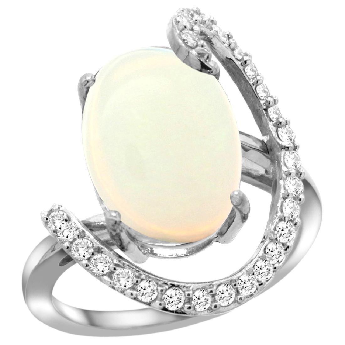 Natural 5.89 ctw Opal & Diamond Engagement Ring 14K