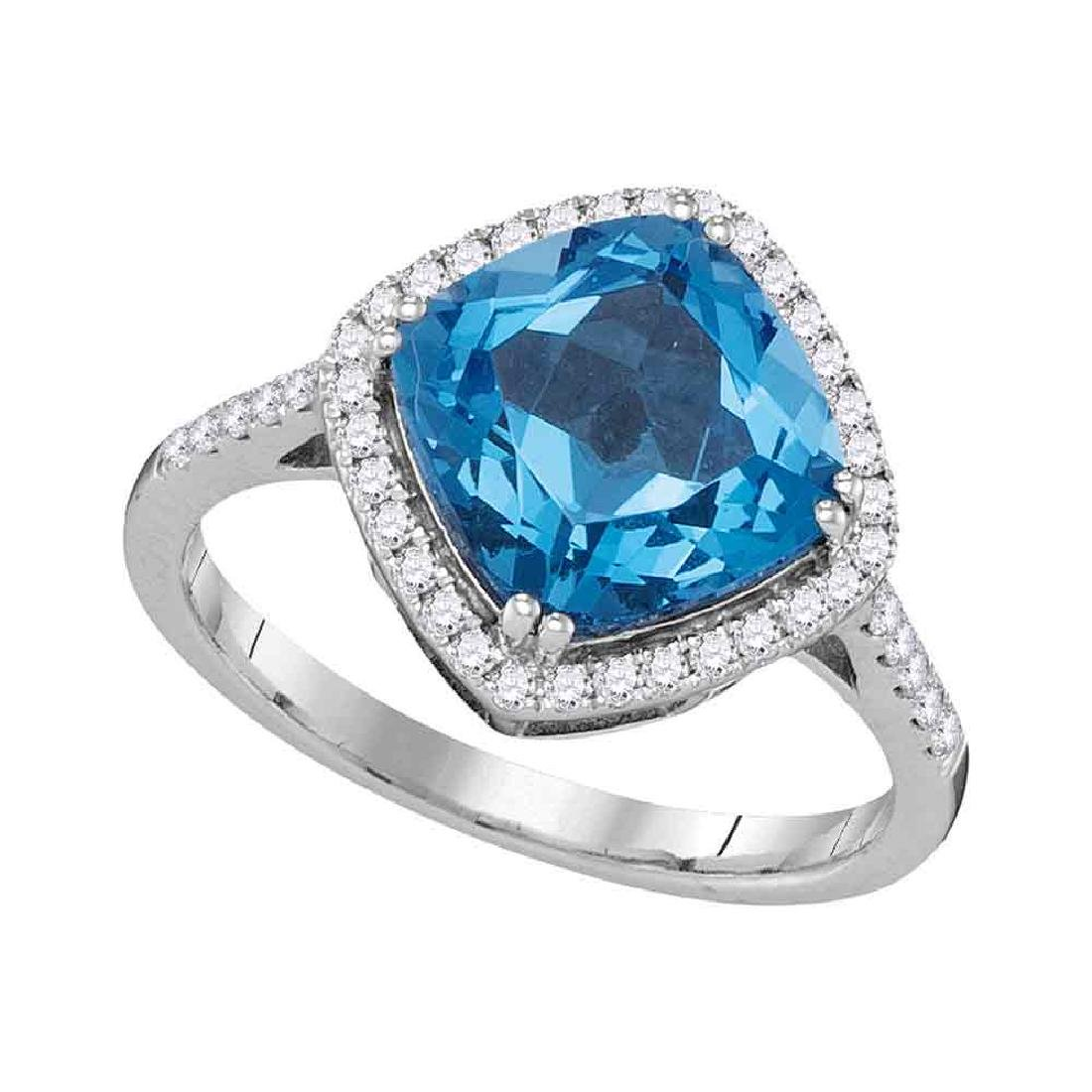 3.89 CTW Cushion Blue Topaz Solitaire Diamond Halo Ring