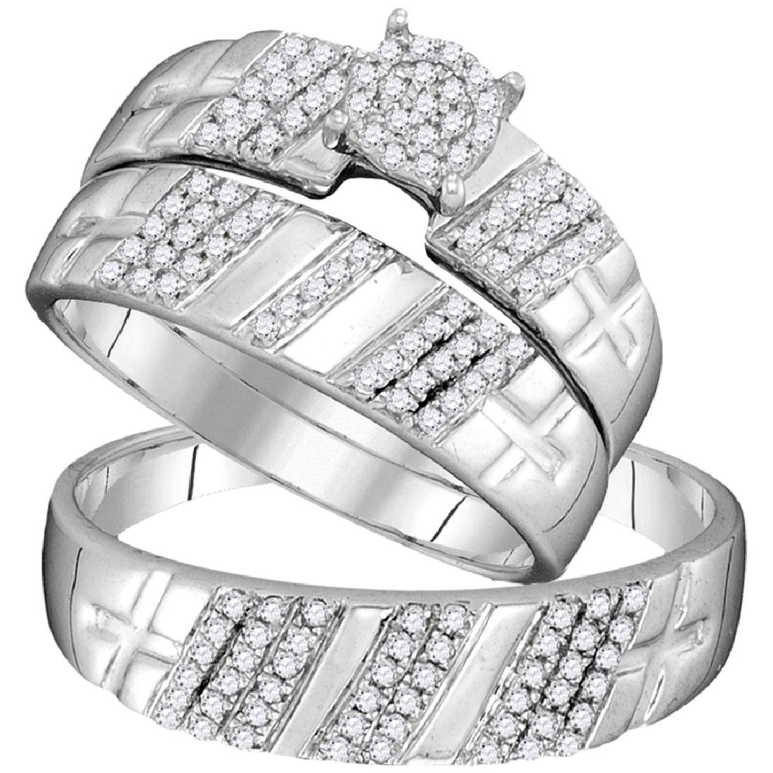 0.40 CTW His & Hers Diamond Cluster Matching Bridal