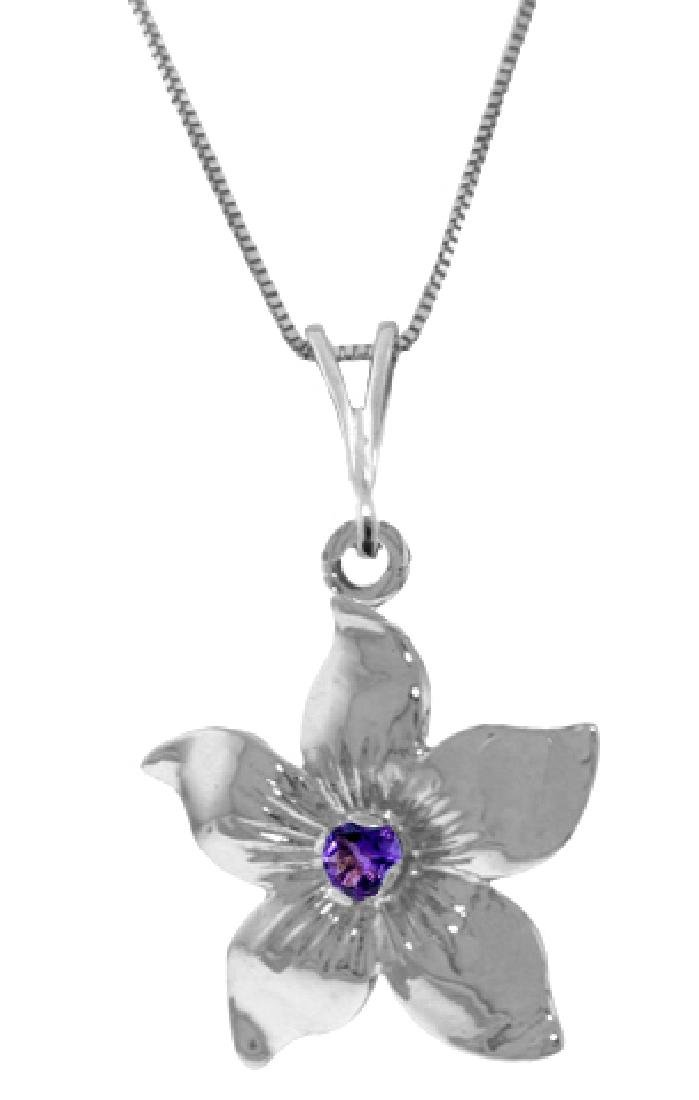 Genuine 0.10 CTW Amethyst Necklace Jewelry 14KT White