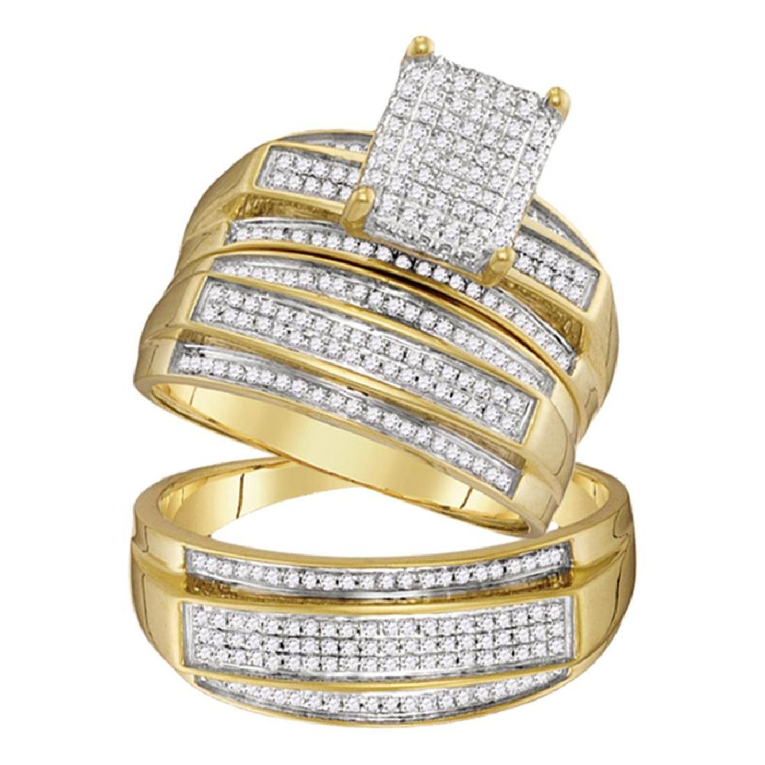 0.69 CTW His & Hers Diamond Matching Bridal Ring 10KT