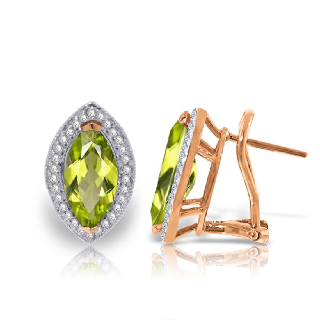 Genuine 4.3 ctw Peridot & Diamond Earrings Jewelry 14KT