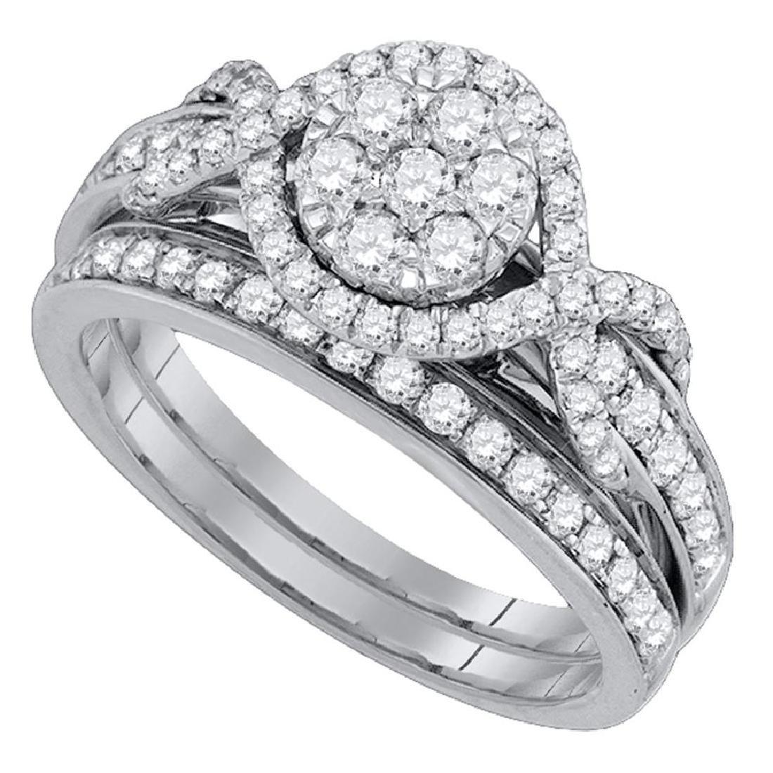 1.01 CTW Diamond Cluster Bridal Engagement Ring 14KT
