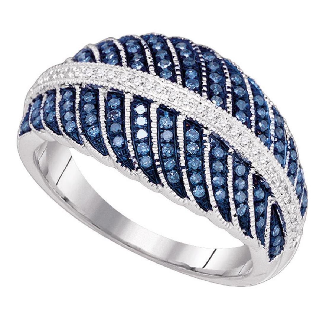 0.40 CTW Blue Color Diamond Milgrain Cocktail Ring 10KT