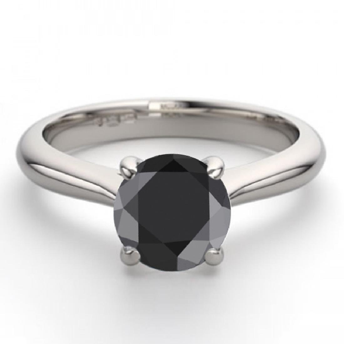 14K White Gold Jewelry 1.02 ctw Black Diamond Solitaire