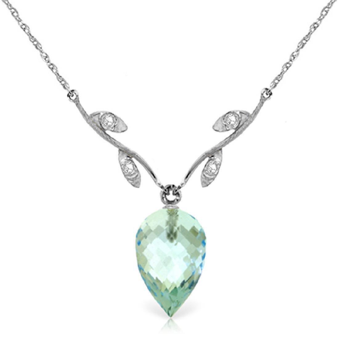 Genuine 11.27 ctw Blue Topaz & Diamond Necklace Jewelry