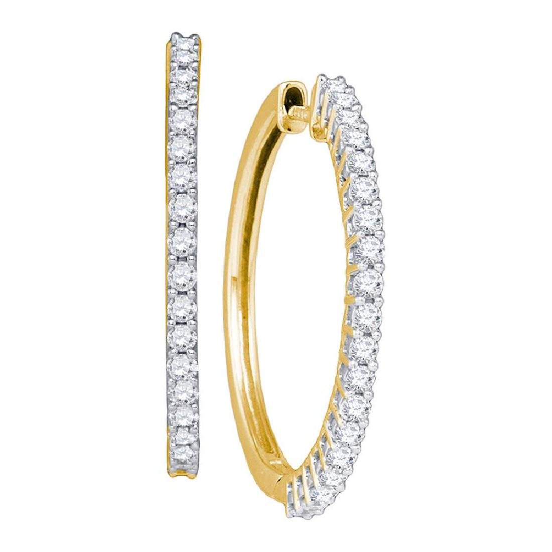 1.01 CTW Pave-set Diamond Slender Single Row Hoop