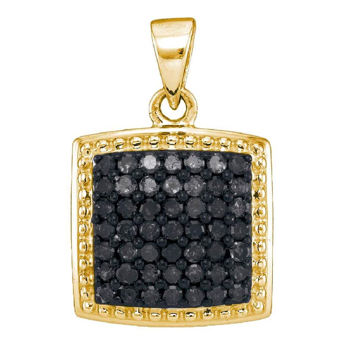 0.50 CTW Black Color Diamond Square Cluster Pendant