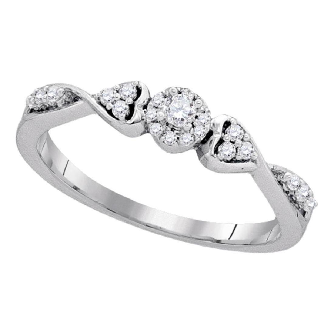 0.20 CTW Diamond Cluster Promise Bridal Ring 10KT White