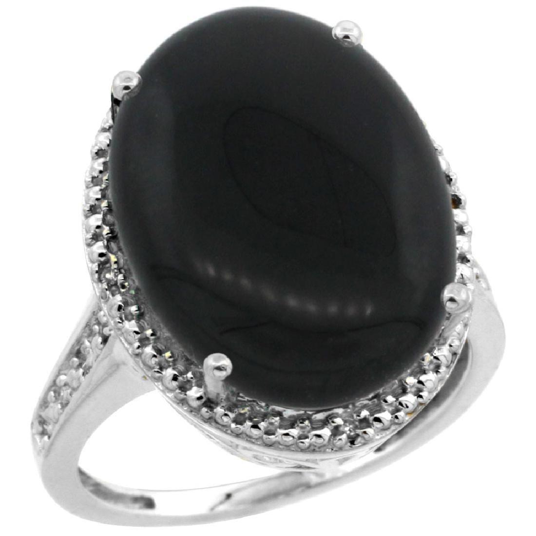 Natural 6.28 ctw Onyx & Diamond Engagement Ring 10K