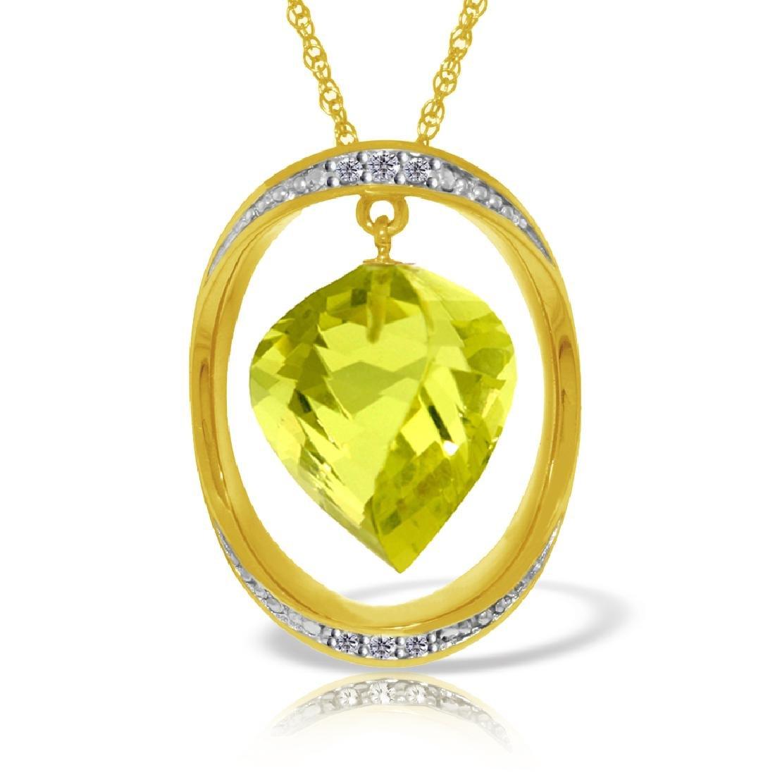 Genuine 10.85 ctw Lemon Quartz & Diamond Necklace