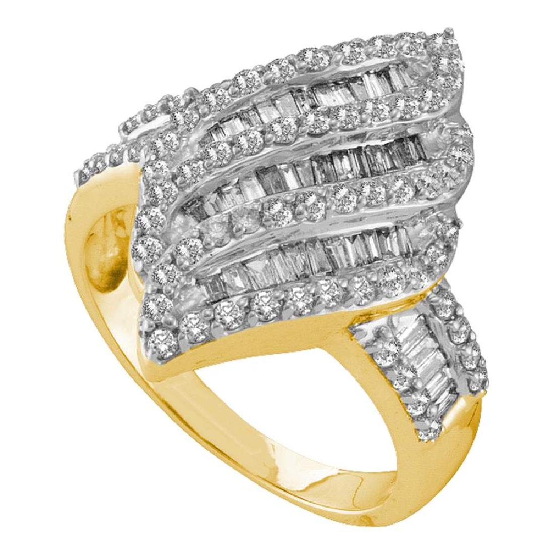 1 CTW Diamond Oval Cluster Ring 14KT Yellow Gold -