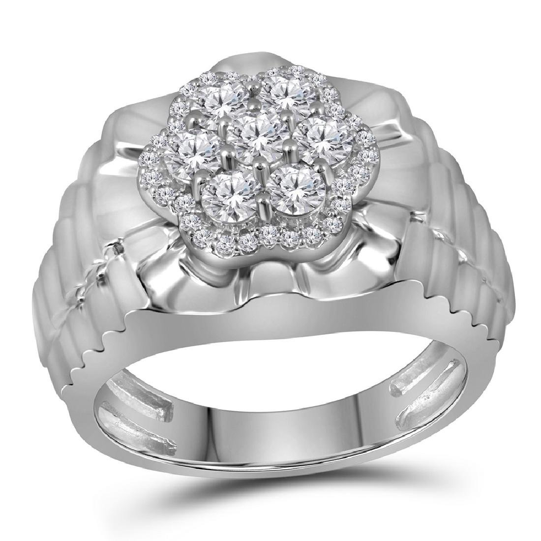 1 CTW Mens Diamond Flower Cluster Ribbed Ring 10KT