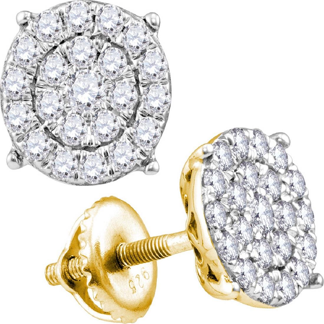 2.05 CTW Diamond Circle Cluster Stud Earrings 14KT