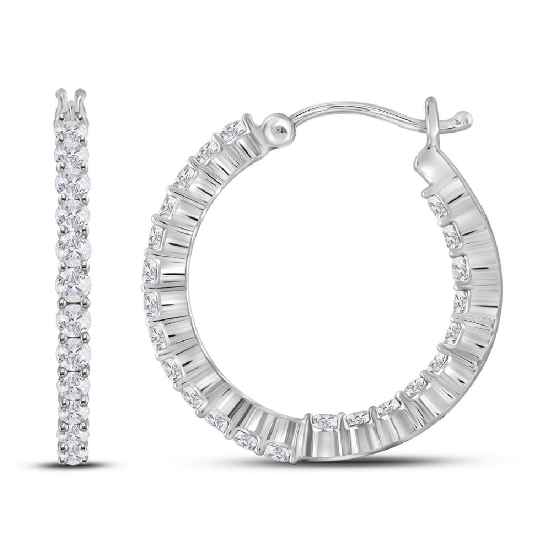 0.99 CTW Diamond Single Row Hoop Earrings 14KT White