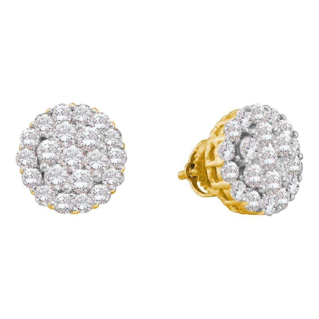 2 CTW Diamond Flower Screwback Earrings 14KT Yellow