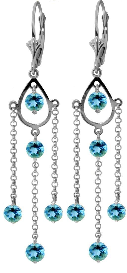 Genuine 3 ctw Blue Topaz Earrings Jewelry 14KT White