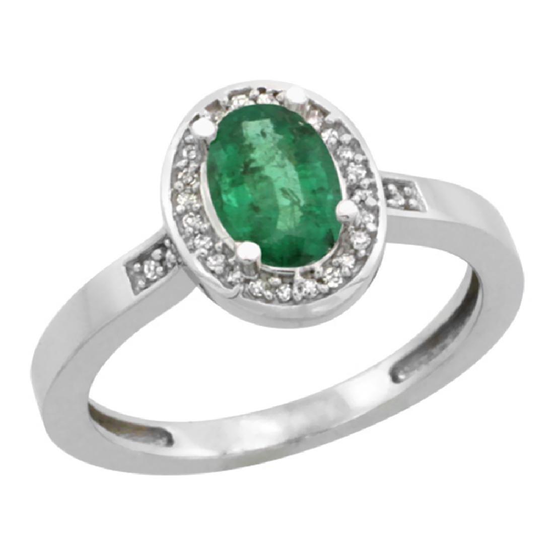Natural 1.08 ctw Emerald & Diamond Engagement Ring 10K