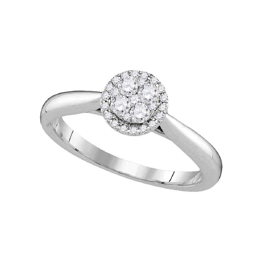 0.25 CTW Diamond Cluster Bridal Engagement Ring 14KT