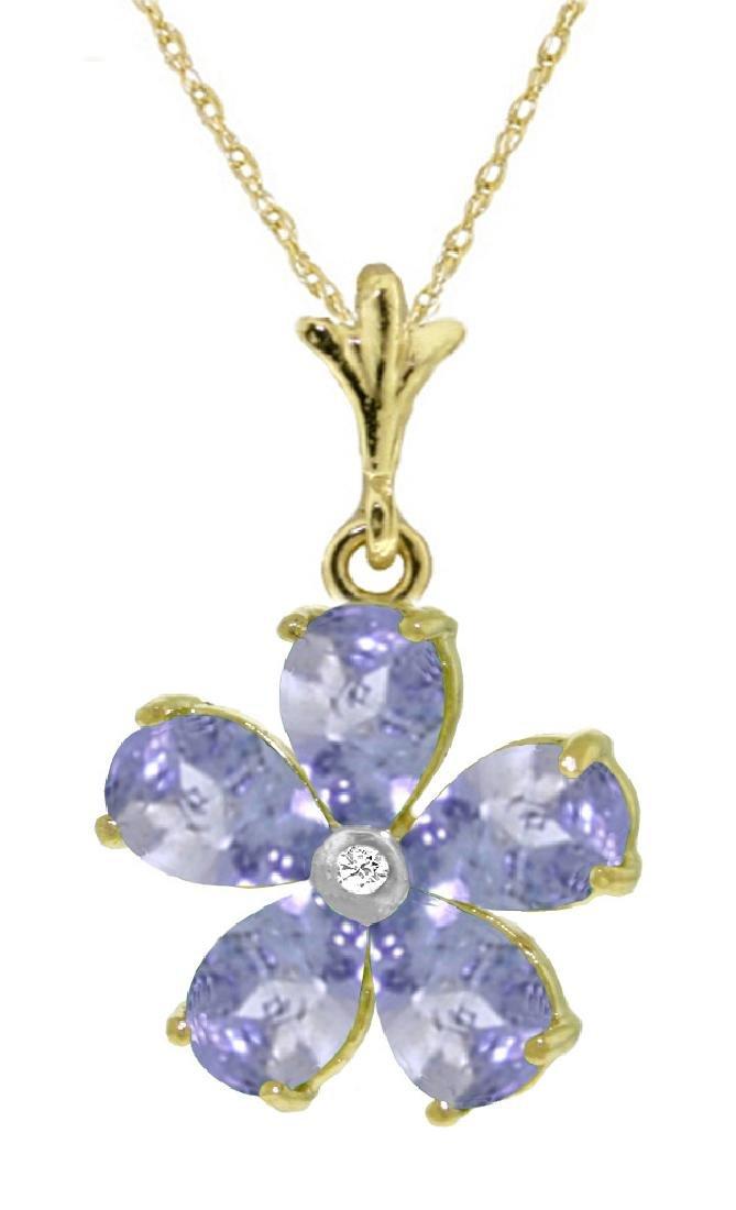 Genuine 2.22 ctw Tanzanite & Diamond Necklace Jewelry