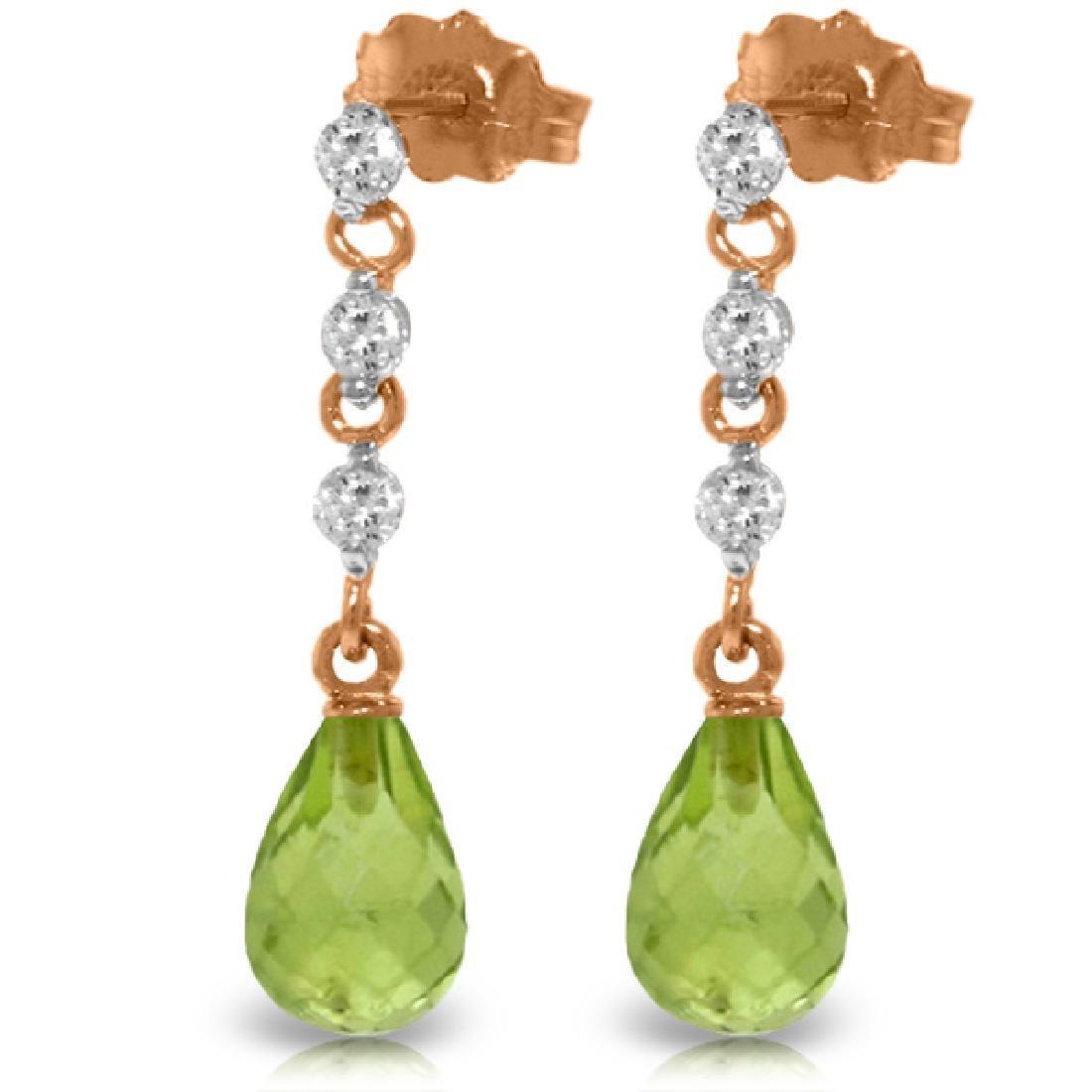 Genuine 3.3 ctw Peridot & Diamond Earrings Jewelry 14KT