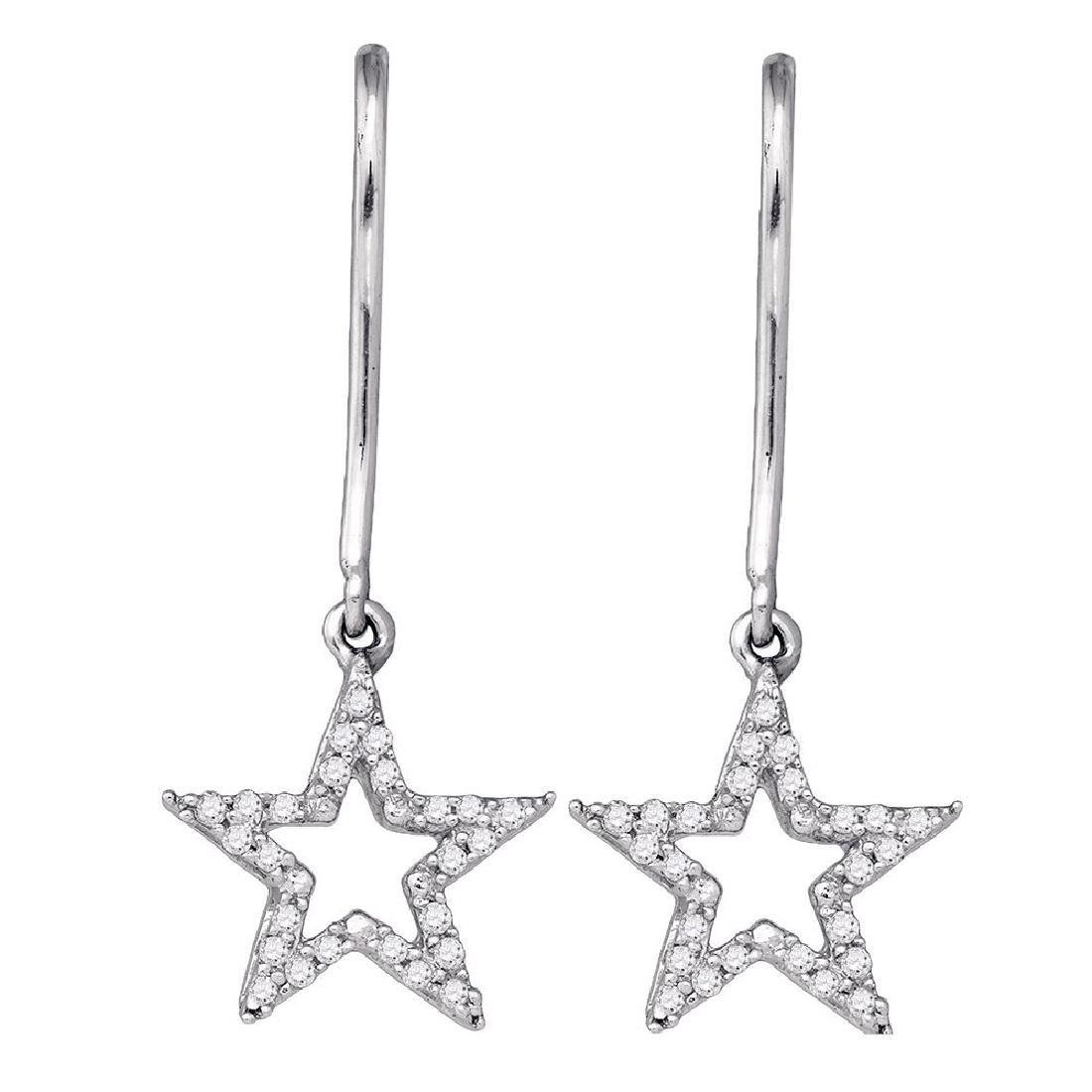 0.14 CTW Diamond Star Dangle Earrings 10KT White Gold -