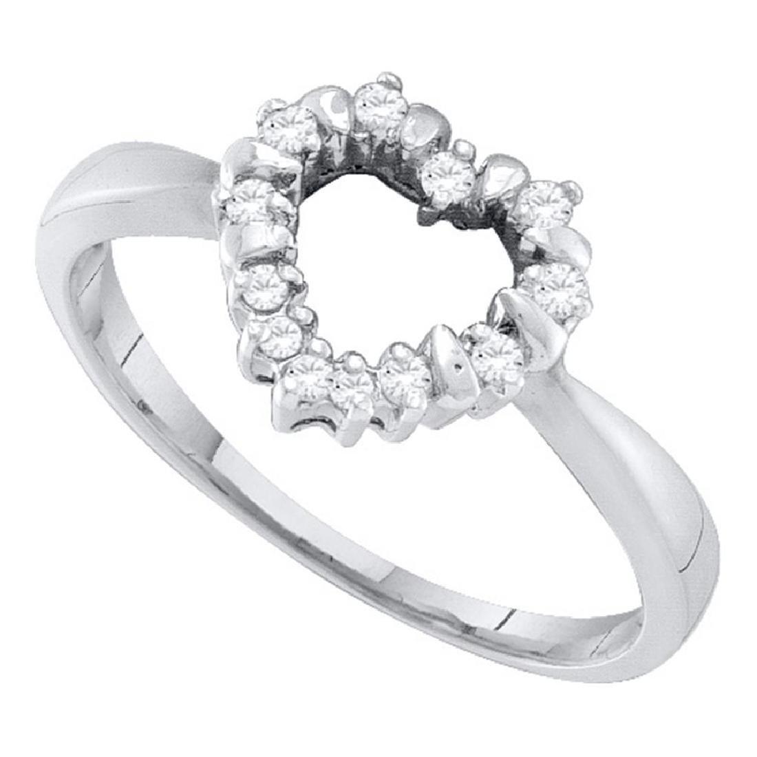 0.10 CTW Diamond Heart Outline Ring 10KT White Gold -