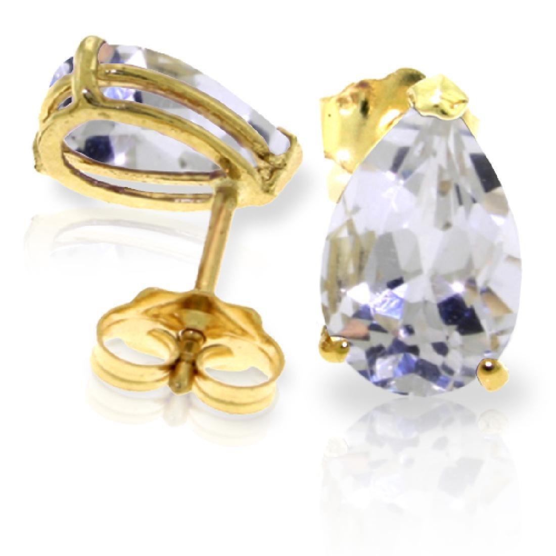 Genuine 3.15 ctw White Topaz Earrings Jewelry 14KT