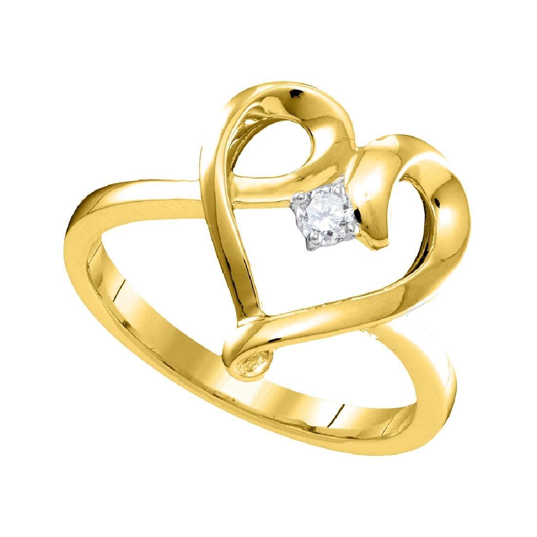 0.05 CTW Diamond Heart Love Promise Bridal Ring 10KT