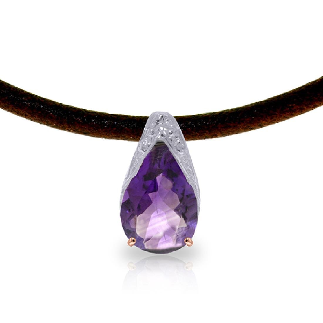 Genuine 6 ctw Amethyst Necklace Jewelry 14KT Rose Gold