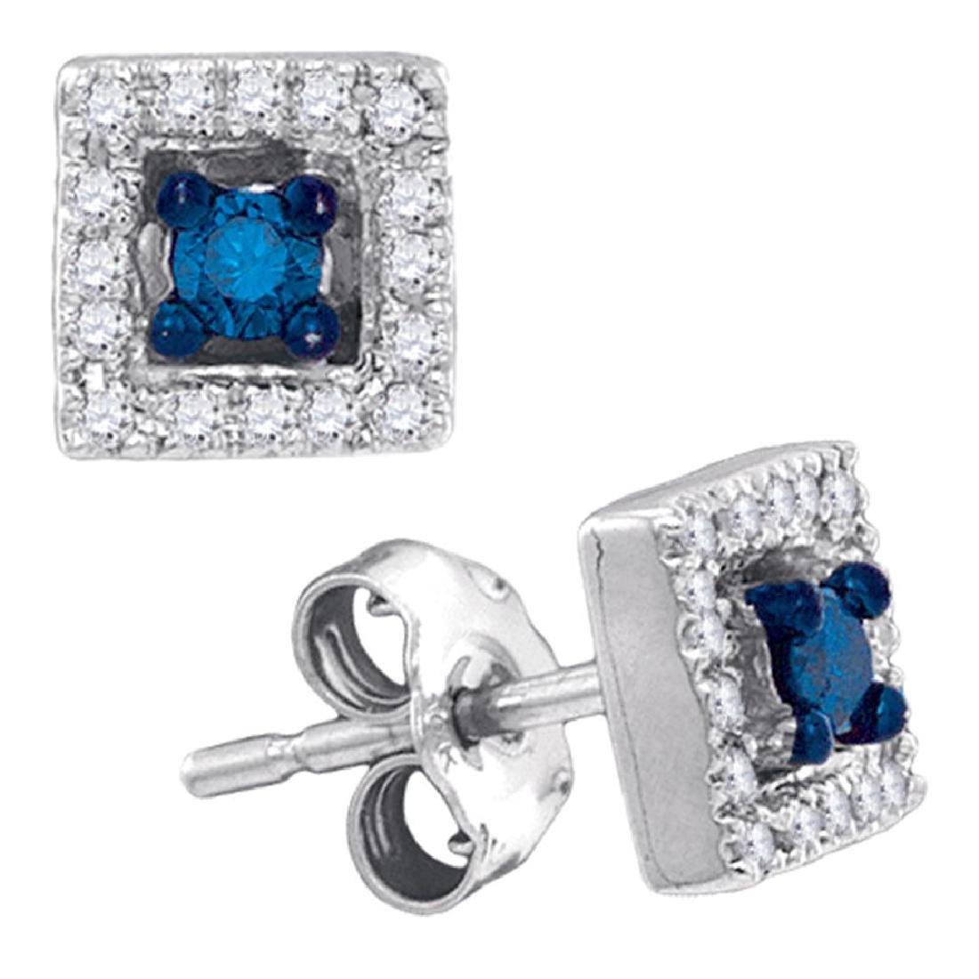 0.21 CTW Blue Color Diamond Square Solitaire Stud