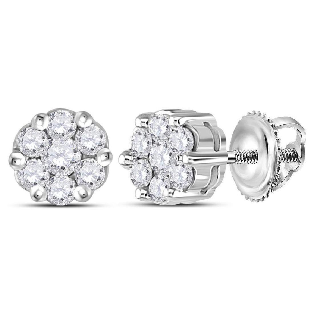 0.25 CTW Diamond Flower Cluster Earrings 14KT White