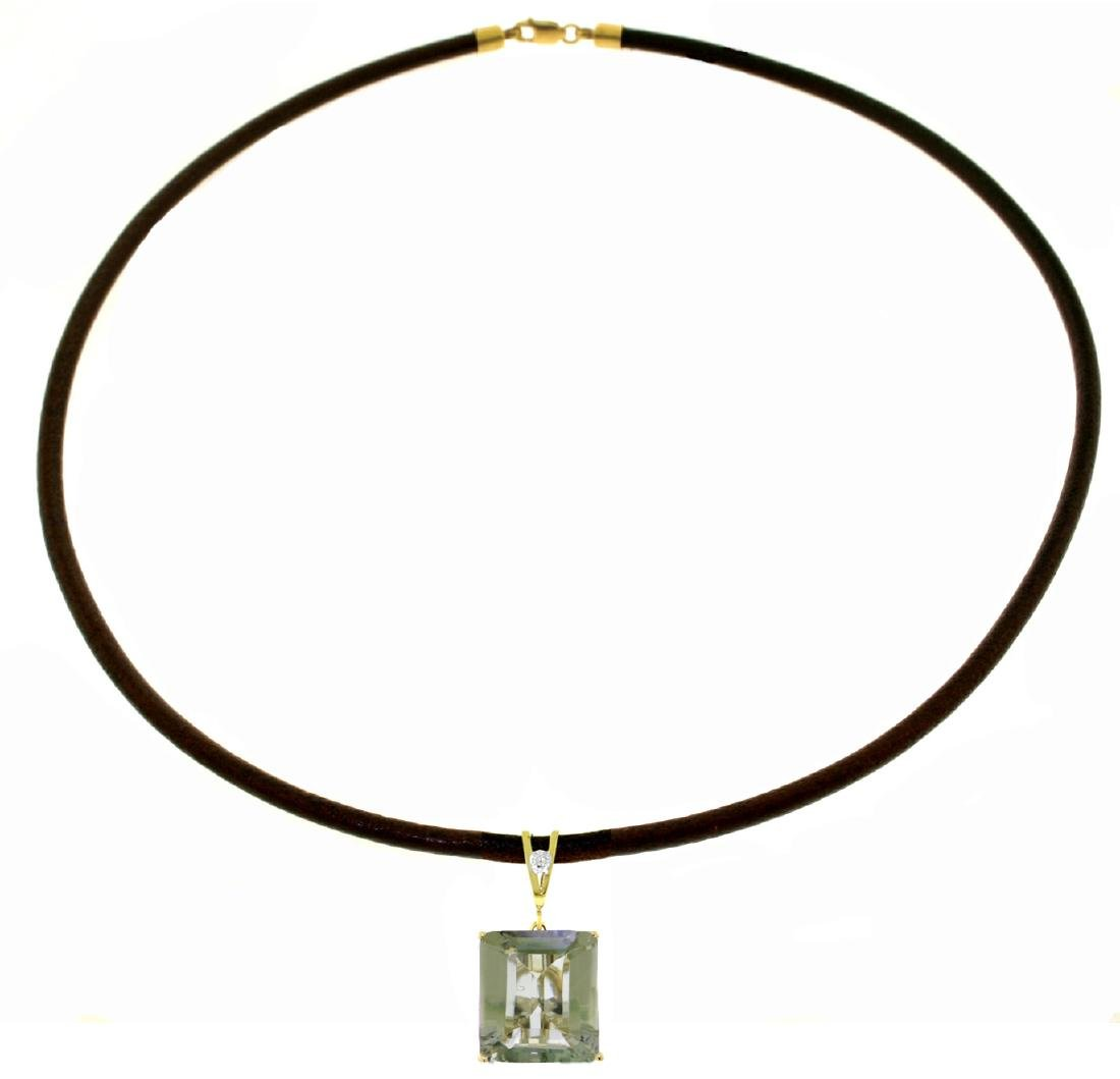 Genuine 6.51 ctw Green Amethyst & Diamond Necklace
